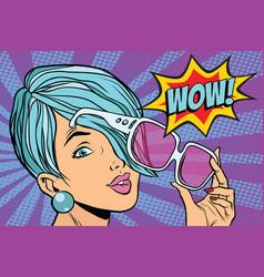 sunglasses pop art woman wow reaction vector image