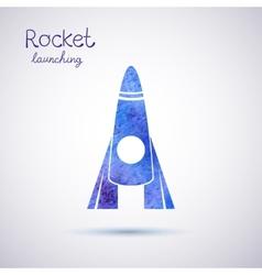 watercolor rocket icon vector image vector image