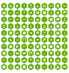 100 emotion icons hexagon green vector image