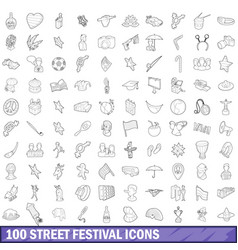 100 street festival icons set outline style vector image