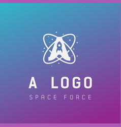 A initial space force logo design galaxy rocket vector