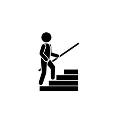 A man climbs the steps with a handrail upstairs vector