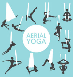 aerial yoga set with young woman silhouettes vector image