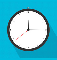 Analog watch hanging on blue wall vector