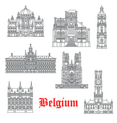 Architecture buildings of belguim icons vector