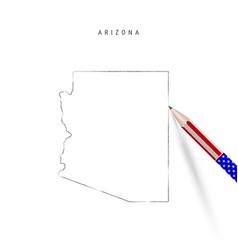 Arizona state map pencil sketch vector