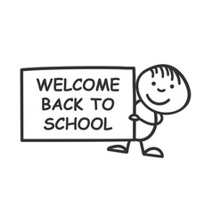 Back to school placard in hands icon on white vector