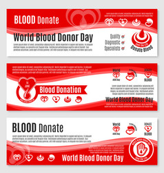 Banners for blood donation donor day vector