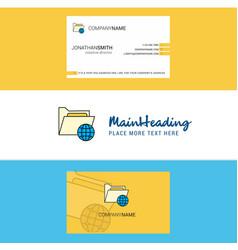Beautiful shared folder logo and business card vector