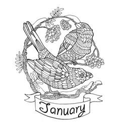 Birds and rowan for calendar vector