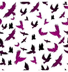Birds in seamless pattern vector image