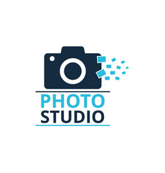 black and blue icon for photographer camera icon vector image