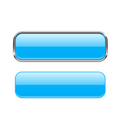 18a6eb30c93 Blue glass buttons with chrome frame rectangle 3d vector ...