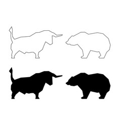 Bull and bear silhouette vector