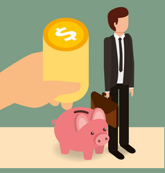 businessman with piggy bank and hand cooins money vector image
