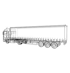 Car delivery semi truck trailer wire-frame eps10 vector