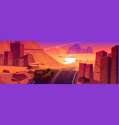 Car driving road at sunset desert canyon landscape vector