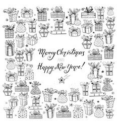 card with gift boxes hand-drawn doodle sketch vector image
