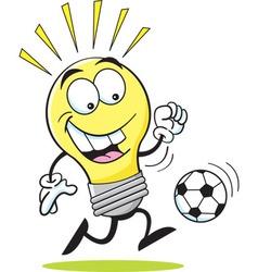 Cartoon light bulb playing soccer vector image