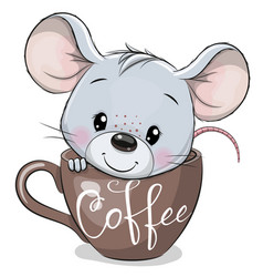 Cartoon mouse is sitting in a cup coffee vector