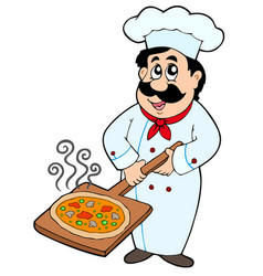 chef holding pizza plate vector image
