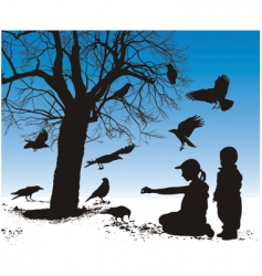 children fed birds vector image