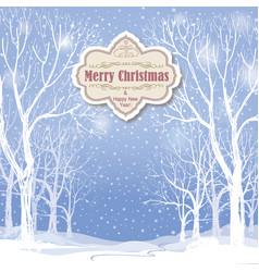 christmas background snow winter landscape vector image