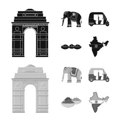 Country india blackmonochrome icons in set vector