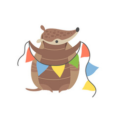 cute armadillo holding party flags adorable vector image
