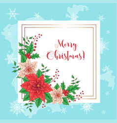 cute christmas card with poinsettia wreath vector image