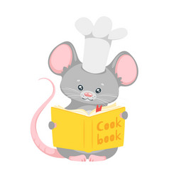 Cute mouse chef flat vector