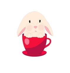 cute rabbit in teacup set for baby vector image