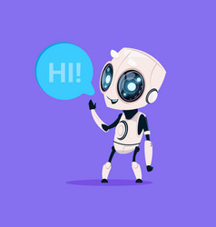 cute robot say hi isolated icon on blue background vector image
