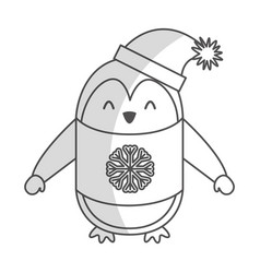 Cute shadow christmas penguin cartoon vector