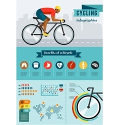cyclist riding on bicycle infographics vector image