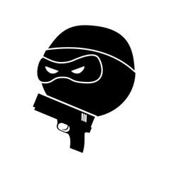 Danger bandit with gun silhouette vector