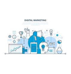 Digital marketing media planning online business vector