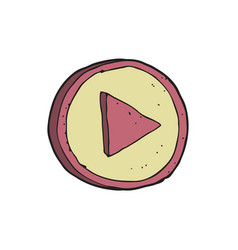 digitally drawn play button design hand drawing vector image