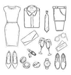 Evening party clothes set vector