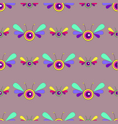 fantasy psychedelic insect bright seamless pattern vector image