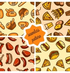 fast food patterns set vector image