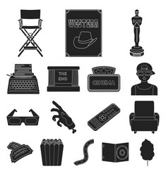 films and cinema black icons in set collection for vector image