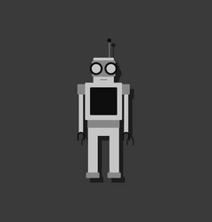 Flat icon design robot toy with antenna in vector