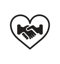 Flat icon in black and white handshake vector