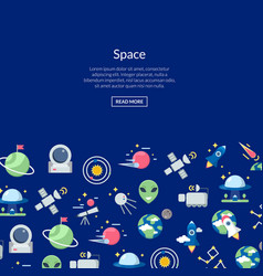 flat space icons background with place vector image