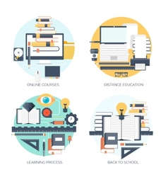 Flat Study and learning vector image