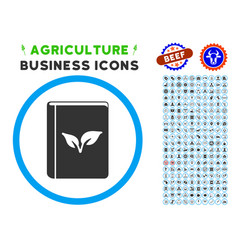 Flora book rounded icon with set vector
