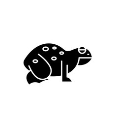 frog black icon sign on isolated vector image