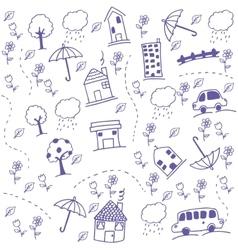Funny draw kids doodle art vector