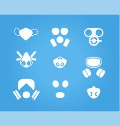 Gas masks and respirators icons set vector